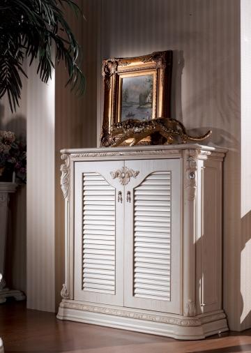 ТУМБА ДЛЯ ОБУВИ 2-дверная ИЗАБЕЛЛА IZABELLA  (белый с золотом) КАРПЕНТЕР